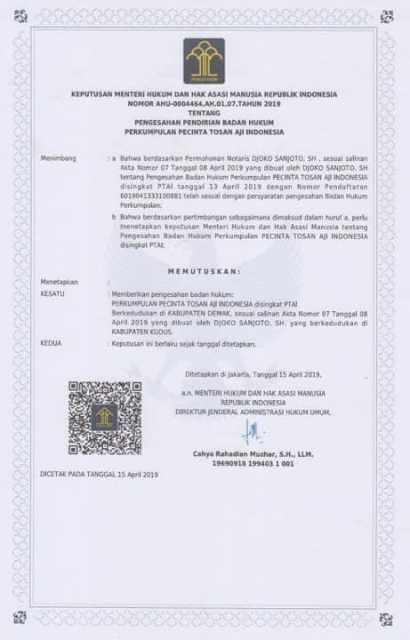 Surat Legalitas Perkumpulan Pecinta Tosan Aji Indonesia